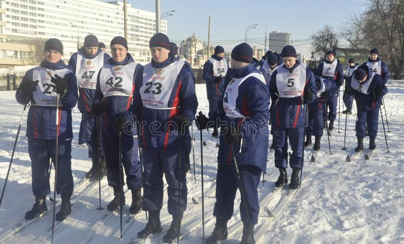 Μόσχα, Ρωσία, στις 2 Ιανουαρίου 2019, αθλητισμός και μαζικά γεγονότα στο 154 χωριστά σύνταγμα Preobrazhensky διοικητών, ανταγωνισ στοκ φωτογραφία με δικαίωμα ελεύθερης χρήσης