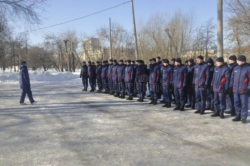 Μόσχα, Ρωσία, στις 2 Ιανουαρίου 2019, αθλητισμός και μαζικά γεγονότα στο 154 χωριστά σύνταγμα Preobrazhensky διοικητών, ανταγωνισ στοκ εικόνα με δικαίωμα ελεύθερης χρήσης