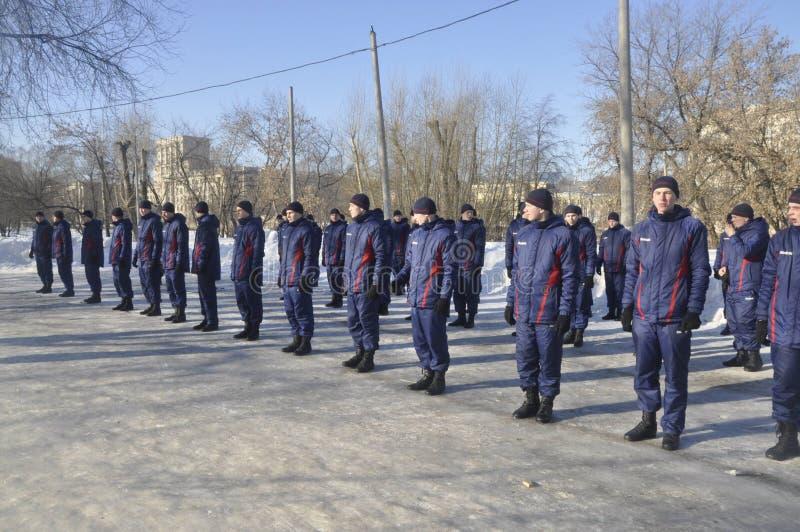 Μόσχα, Ρωσία, στις 2 Ιανουαρίου 2019, αθλητισμός και μαζικά γεγονότα στο 154 χωριστά σύνταγμα Preobrazhensky διοικητών, ανταγωνισ στοκ εικόνες με δικαίωμα ελεύθερης χρήσης