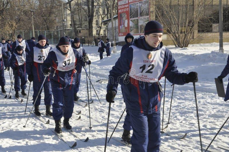 Μόσχα, Ρωσία, στις 2 Ιανουαρίου 2019, αθλητισμός και μαζικά γεγονότα στο 154 χωριστά σύνταγμα Preobrazhensky διοικητών, ανταγωνισ στοκ φωτογραφίες με δικαίωμα ελεύθερης χρήσης