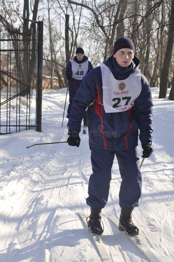 Μόσχα, Ρωσία, στις 2 Ιανουαρίου 2019, αθλητισμός και μαζικά γεγονότα στο 154 χωριστά σύνταγμα Preobrazhensky διοικητών, ανταγωνισ στοκ εικόνες