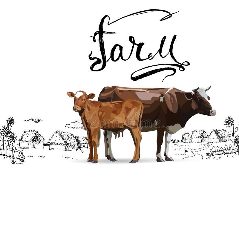 Μόσχος αγελάδων καφετής, διανύσματα ελεύθερη απεικόνιση δικαιώματος