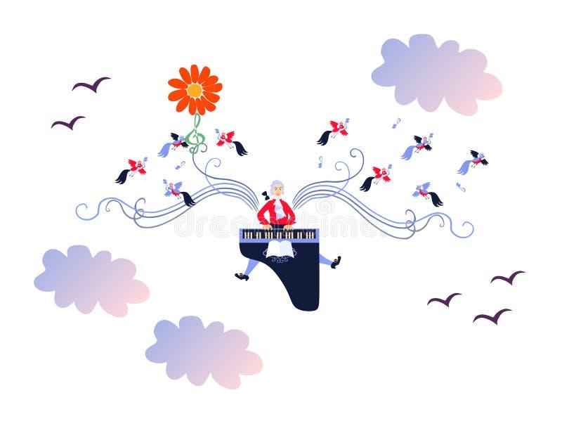 Μότσαρτ φτερωτό με τη μουσική Χαριτωμένη διανυσματική απεικόνιση κινούμενων σχεδίων ελεύθερη απεικόνιση δικαιώματος