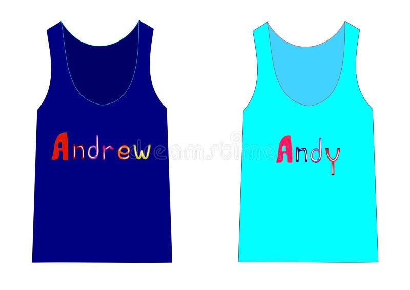 Μόδα για τα πουκάμισα αγοριών με τα ονόματα δύο από το Andrew και το Andy απεικόνιση αποθεμάτων