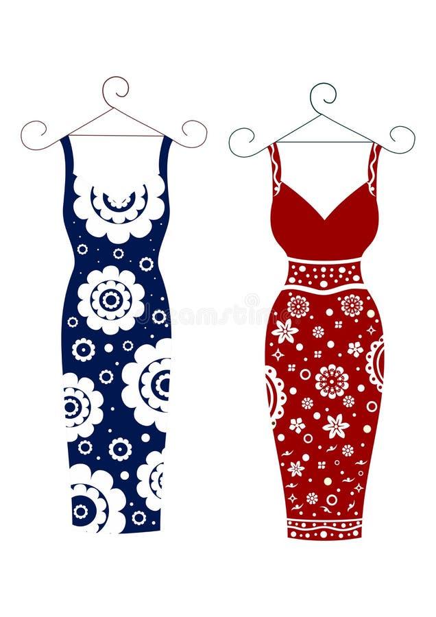 Μόδα για τις γυναίκες δύο φόρεμα με ένα floral σχέδιο διανυσματική απεικόνιση