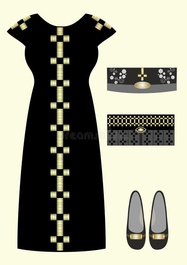 Μόδα για το αρχικό φόρεμα βραδιού κοριτσιών, παπούτσια, συμπλέκτες διανυσματική απεικόνιση