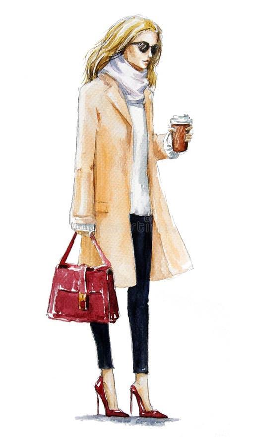 Μόδα οδών απεικόνιση μόδας ενός ξανθού κοριτσιού σε ένα παλτό Το φθινόπωρο κοιτάζει υψηλό watercolor ποιοτικής ανίχνευσης ζωγραφι απεικόνιση αποθεμάτων