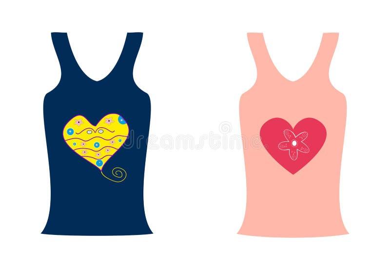 Μόδα δύο πουκάμισα με μια καρδιά ελεύθερη απεικόνιση δικαιώματος