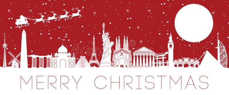 Μύγα Άγιου Βασίλη πέρα από το παγκοσμίως διάσημο ορόσημο για να στείλει το δώρο στο κάθε διανυσματική απεικόνιση