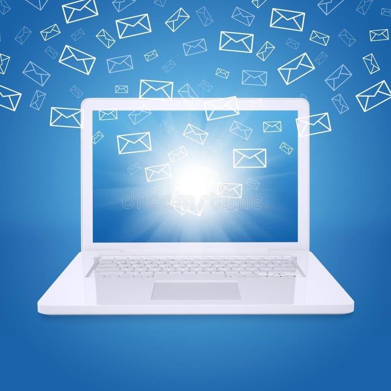 Μύγα ηλεκτρονικών ταχυδρομείων από την οθόνη lap-top στοκ φωτογραφίες με δικαίωμα ελεύθερης χρήσης