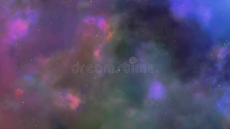 Μύγα κατευθείαν στο νεφέλωμα σύννεφων αερίου και την τρισδιάστατη ζωτικότητα αστεριών απεικόνιση αποθεμάτων