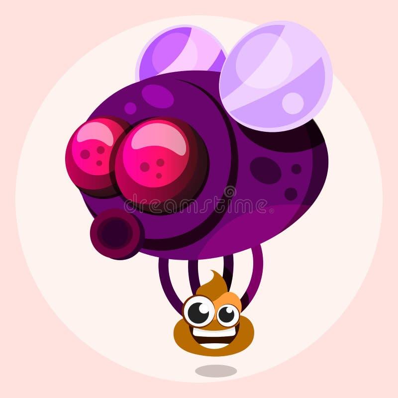 Μύγα με το επίστεγο στο διάνυσμα ύφους κινούμενων σχεδίων διανυσματική απεικόνιση