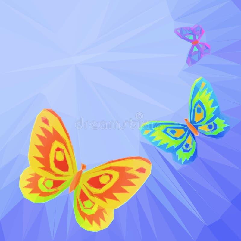 Μύγα πεταλούδων στον ουρανό, χαμηλός-πολυ διανυσματική απεικόνιση