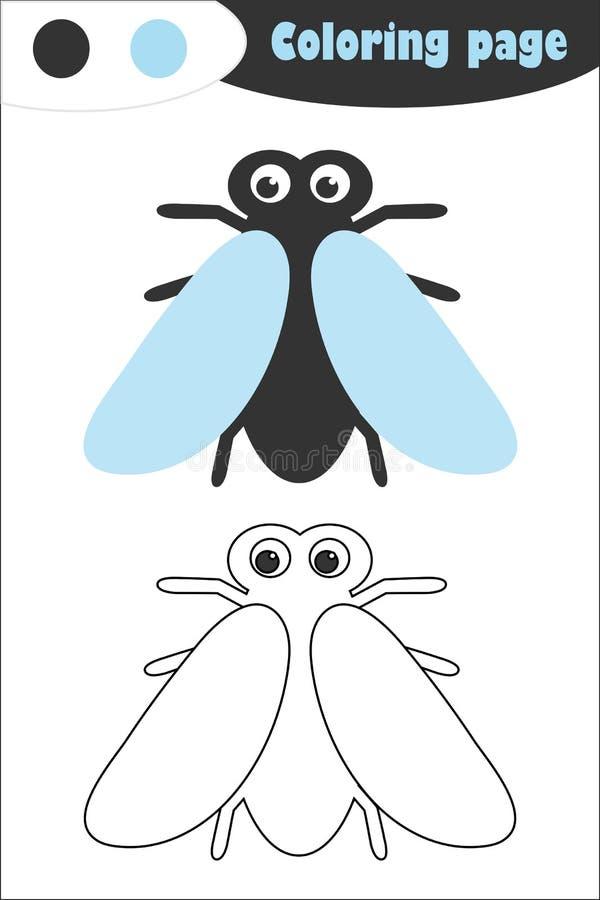 Μύγα στο ύφος κινούμενων σχεδίων, χρωματίζοντας σελίδα, παιχνίδι εγγράφου εκπαίδευσης άνοιξη για την ανάπτυξη των παιδιών, προσχο ελεύθερη απεικόνιση δικαιώματος