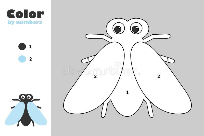 Μύγα στο ύφος κινούμενων σχεδίων, χρώμα από τον αριθμό, παιχνίδι εγγράφου εκπαίδευσης για την ανάπτυξη των παιδιών, χρωματίζοντας απεικόνιση αποθεμάτων