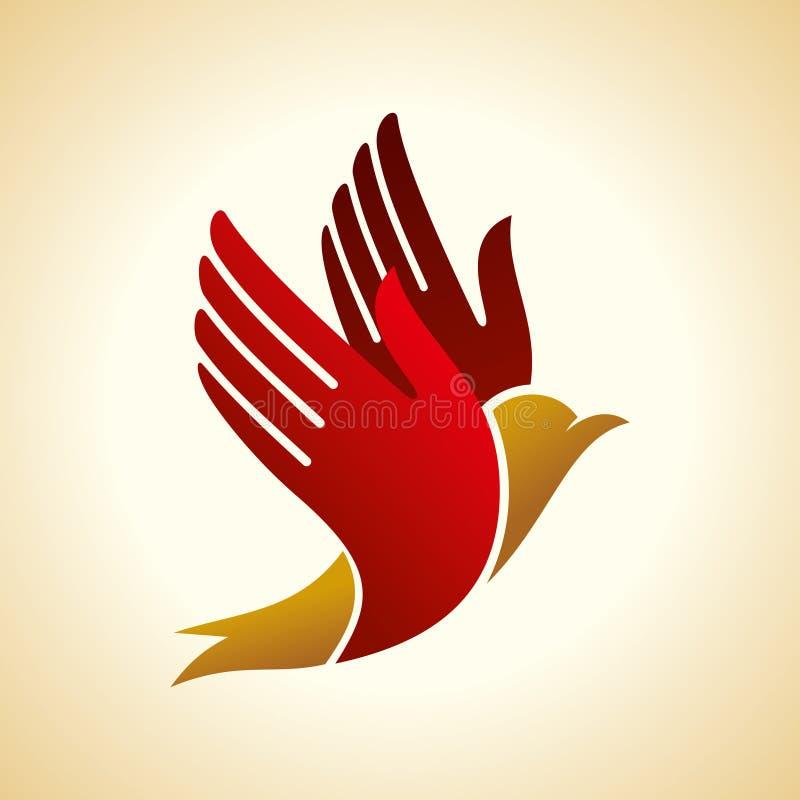 Μύγα του πουλιού στο χέρι δημιουργική απεικόνιση ιδέας απεικόνιση αποθεμάτων