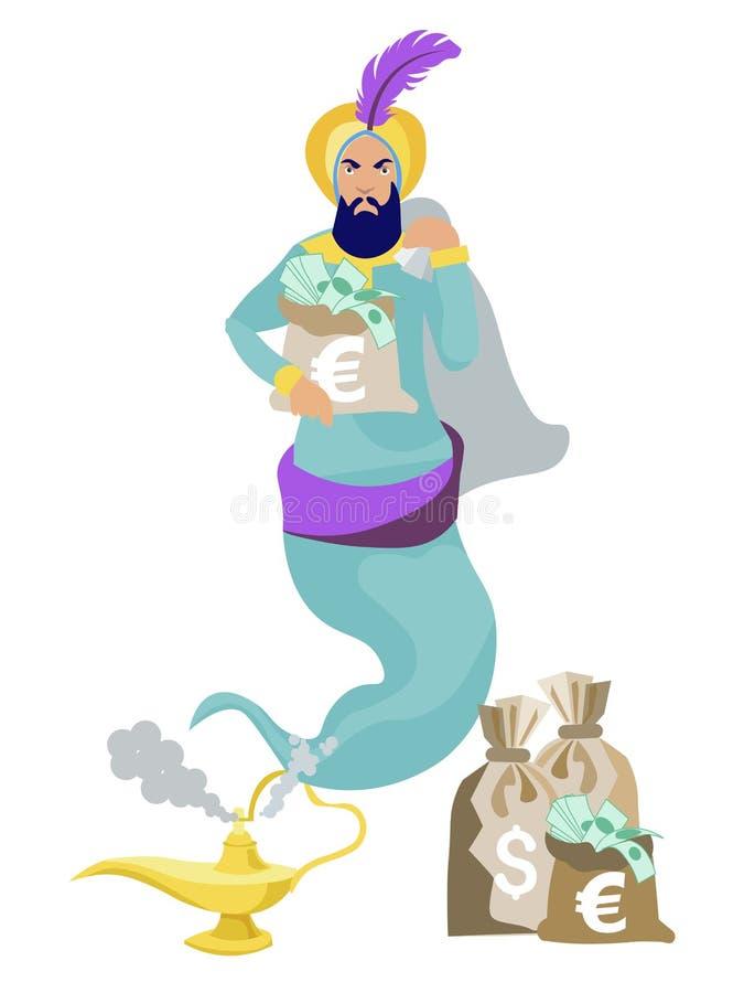 Μύγες Jinn από το λαμπτήρα, στα χέρια του πλούτου, χρήματα, δολάρια Στο μινιμαλιστικό ύφος Επίπεδο διάνυσμα κινούμενων σχεδίων ελεύθερη απεικόνιση δικαιώματος