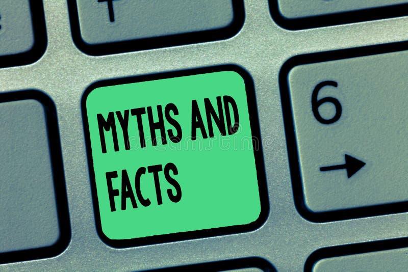 Μύθοι και γεγονότα κειμένων γραψίματος λέξης Επιχειρησιακή έννοια για τη Oppositive έννοια για τη σύγχρονη και αρχαία περίοδο στοκ εικόνες