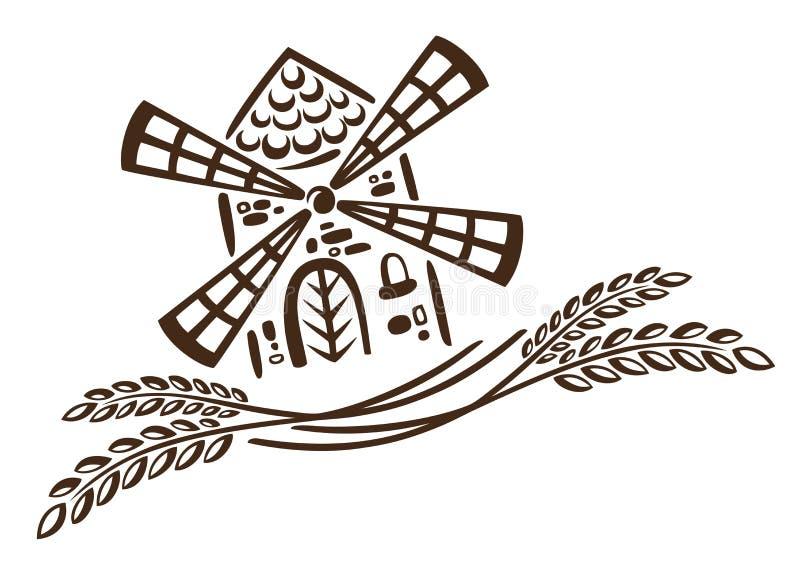 Μύλος, σιτάρι, αρτοποιείο απεικόνιση αποθεμάτων