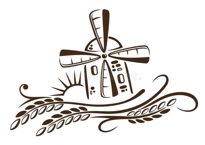 Μύλος, σιτάρι, καλαμπόκι, αρτοποιείο διανυσματική απεικόνιση