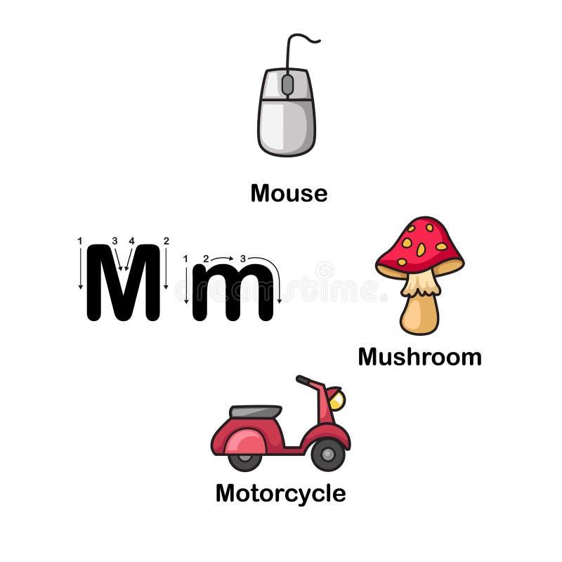 Μ-ποντίκι επιστολών αλφάβητου, μανιτάρι, διανυσματική απεικόνιση μοτοσικλετών ελεύθερη απεικόνιση δικαιώματος