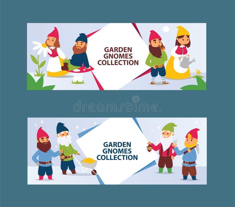 Νάνοι χαρακτήρες γενειάδων στοιχειών κήπων cadrs και διανυσματική απεικόνιση υποβάθρου οικογενειακού αριθμού κηπουρικής flayer kl διανυσματική απεικόνιση