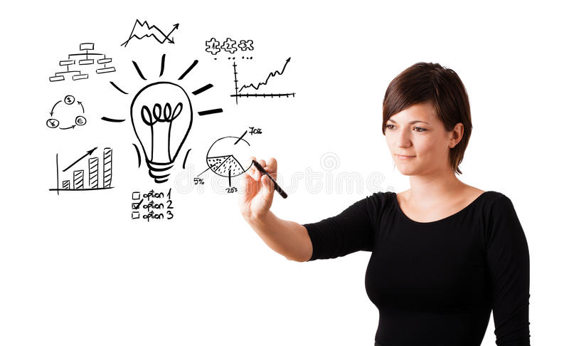 Νέα λάμπα φωτός σχεδίων επιχειρησιακών γυναικών με τα διάφορα διαγράμματα στοκ εικόνες με δικαίωμα ελεύθερης χρήσης