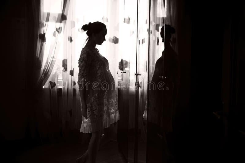 Νέα έγκυος γυναίκα σε ένα φόρεμα στοκ εικόνα με δικαίωμα ελεύθερης χρήσης