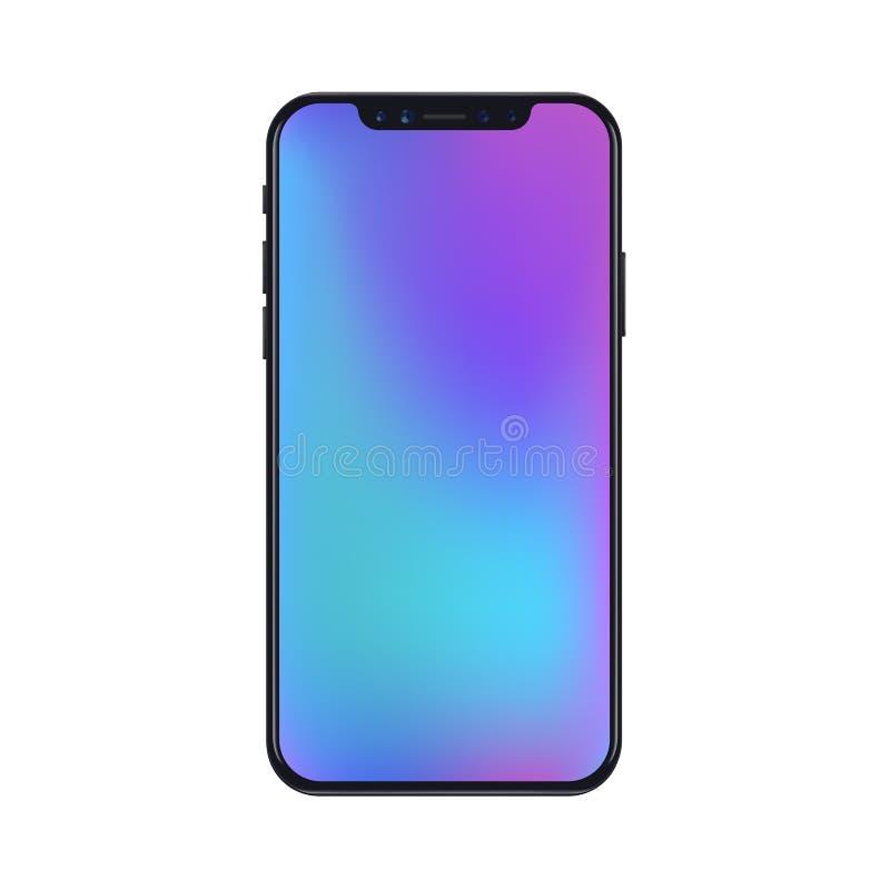 Νέα έκδοση της μαύρης λεπτής ρεαλιστικής διανυσματικής ταπετσαρίας πλέγματος κλίσης smartphone σύγχρονης διανυσματική απεικόνιση