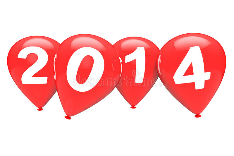 Νέα έννοια έτους. Κόκκινα μπαλόνια Χριστουγέννων με το σημάδι του 2014 στοκ φωτογραφίες