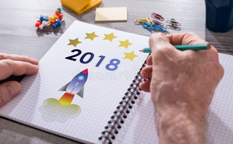 Νέα έννοια έτους 2018 σε ένα σημειωματάριο στοκ εικόνες με δικαίωμα ελεύθερης χρήσης
