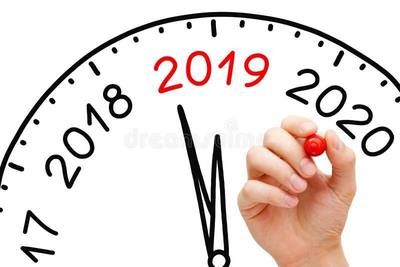 Νέα έννοια ρολογιών έτους 2019 στοκ φωτογραφία