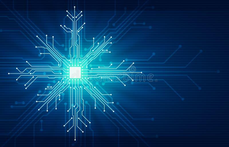 Νέα έννοια τεχνολογίας Χριστουγέννων έτους Showflake διανυσματική απεικόνιση