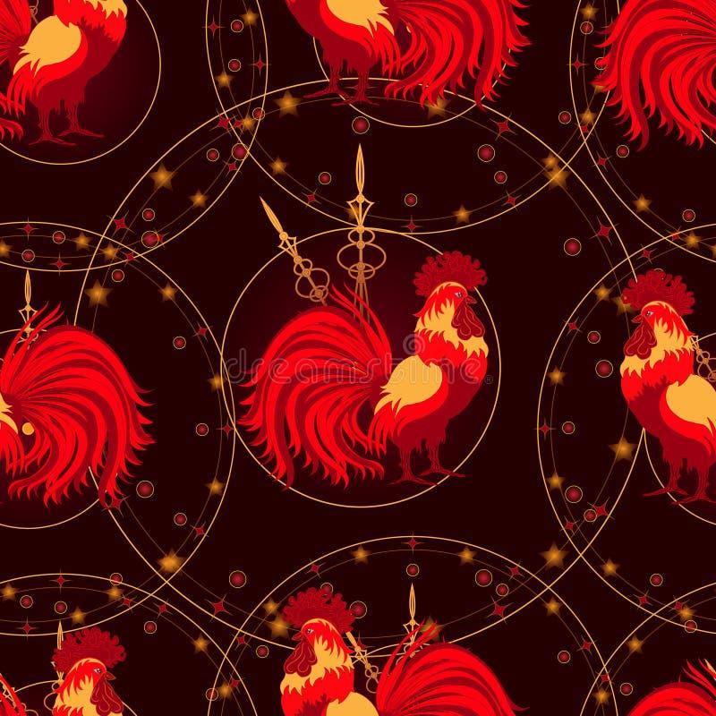 Νέα έτη, άνευ ραφής σχέδιο με έναν φλογερό κόκκορα στοκ φωτογραφίες με δικαίωμα ελεύθερης χρήσης