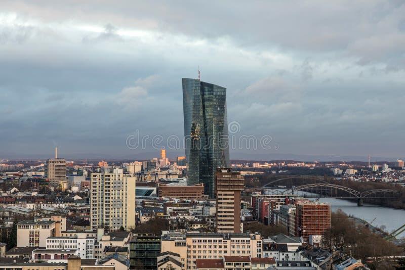 Νέα έδρα της Ευρωπαϊκής Κεντρικής Τράπεζας ή της ΕΚΤ Φρανκφούρτη, στοκ φωτογραφίες