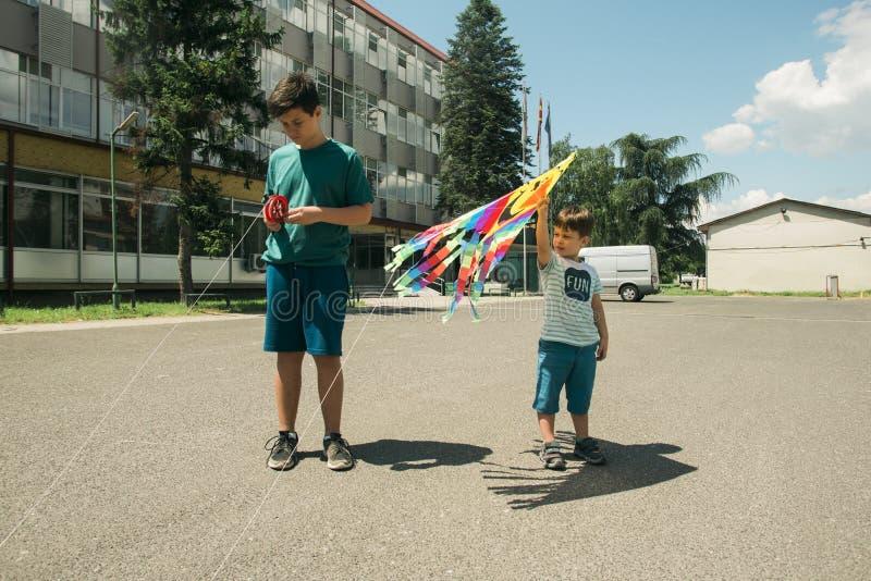 Νέα αγόρια που πετούν τον ικτίνο στο πάρκο μια ηλιόλουστη ημέρα στοκ φωτογραφία