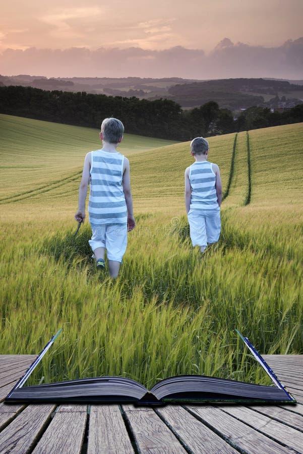 Νέα αγόρια τοπίων έννοιας έννοιας βιβλίων που περπατούν μέσω του τομέα στοκ φωτογραφία