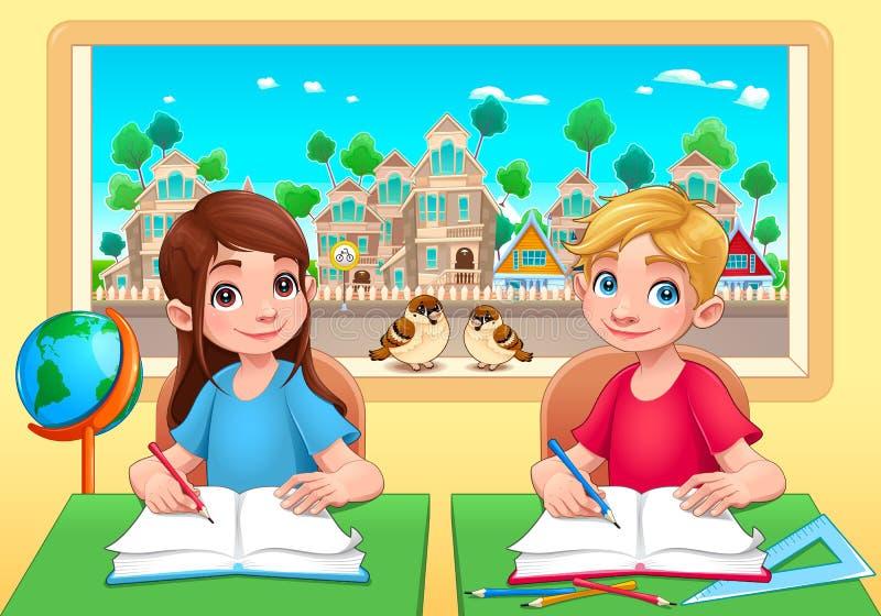 Νέα αγόρι και κορίτσι σπουδαστών στην τάξη απεικόνιση αποθεμάτων