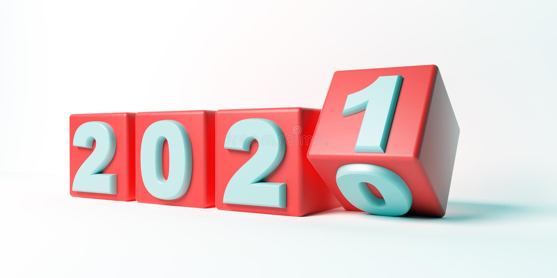2021 νέα αλλαγή έτους, κόκκινοι κύβοι που απομονώνονται στο άσπρο κλίμα r διανυσματική απεικόνιση