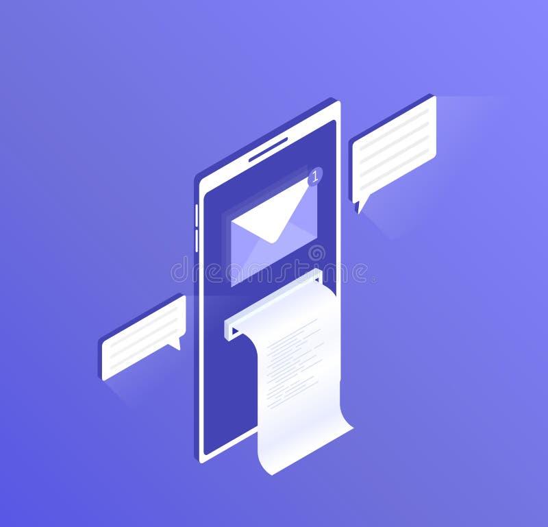Νέα ανακοίνωση ηλεκτρονικού ταχυδρομείου στο κινητό τηλέφωνο, την οθόνη του smartphone με ένα ανοικτό μήνυμα και το διαβασμένο ει απεικόνιση αποθεμάτων