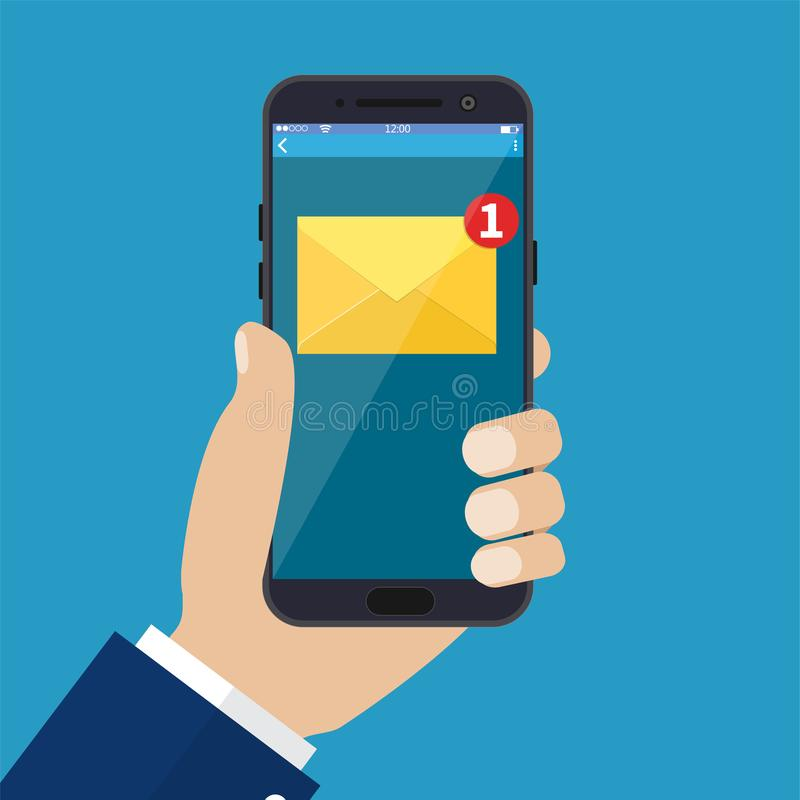 Νέα ανακοίνωση ηλεκτρονικού ταχυδρομείου στο κινητό τηλέφωνο διανυσματική απεικόνιση