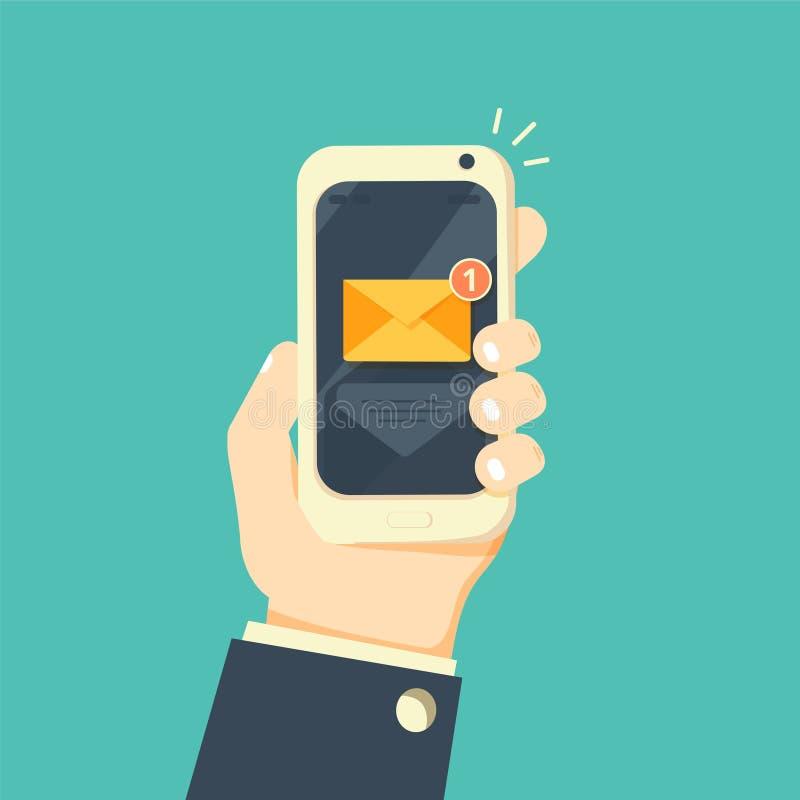 Νέα ανακοίνωση ηλεκτρονικού ταχυδρομείου στην κινητή τηλεφωνική διανυσματική απεικόνιση ελεύθερη απεικόνιση δικαιώματος