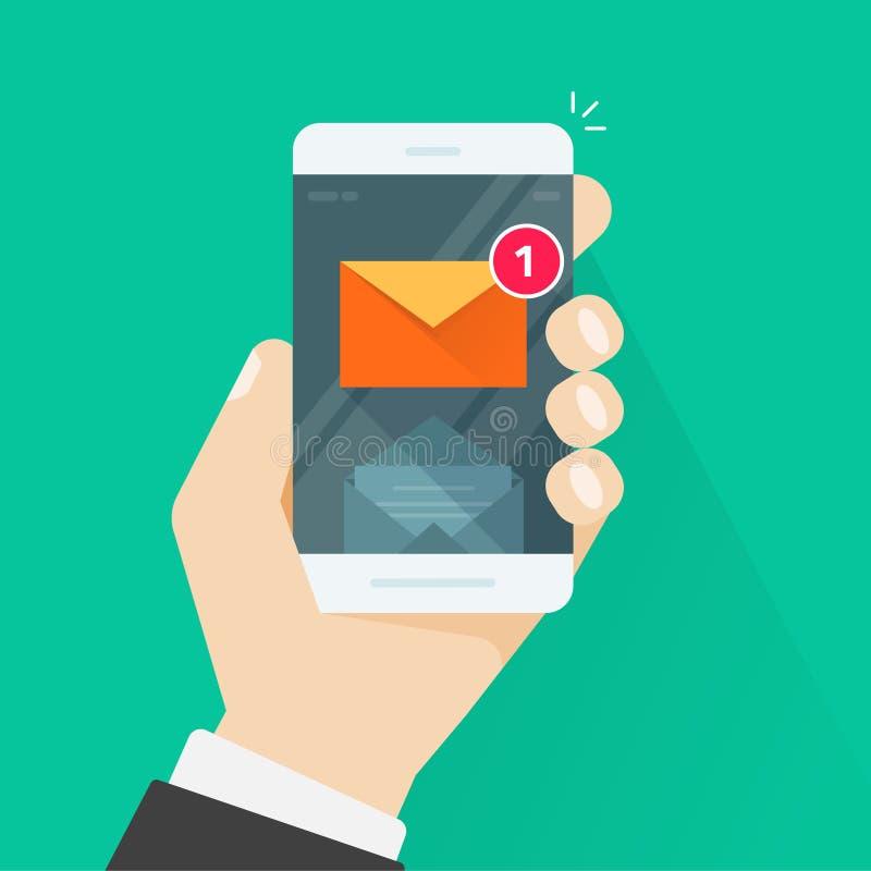 Νέα ανακοίνωση μηνυμάτων ηλεκτρονικού ταχυδρομείου στην κινητή τηλεφωνική διανυσματική απεικόνιση απεικόνιση αποθεμάτων