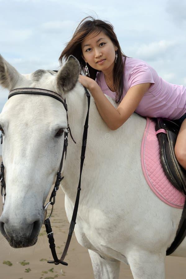 Νέα αρκετά ασιατική γυναίκα που οδηγά το άσπρο άλογο στοκ φωτογραφίες