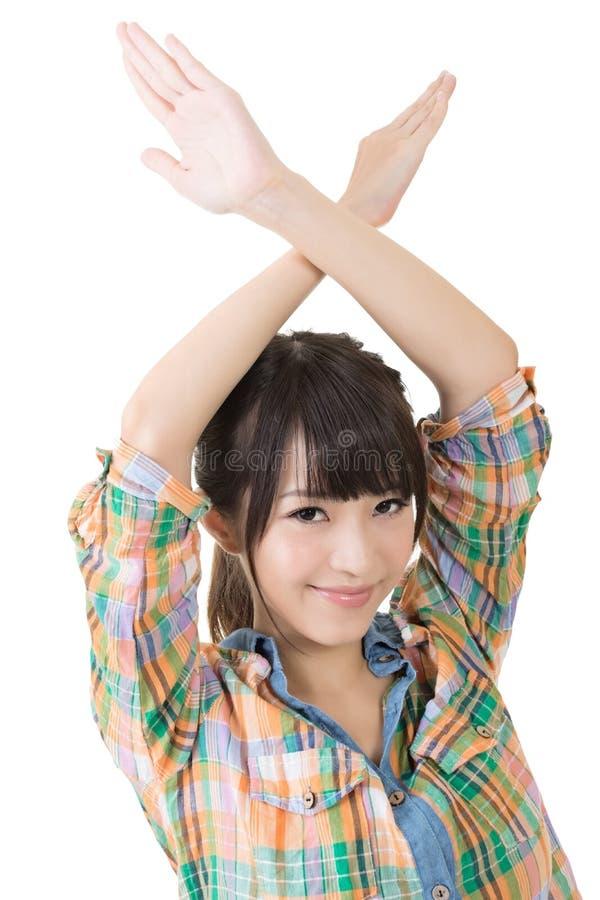 Νέα ασιατικά διασχισμένα γυναίκα χέρια από πάνω στοκ φωτογραφία με δικαίωμα ελεύθερης χρήσης