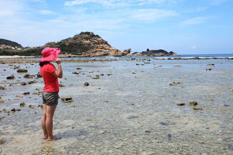 Νέα ασιατική γυναίκα που εξετάζει τη θάλασσα στοκ εικόνα