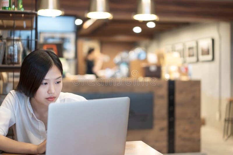 Νέα ασιατική γυναίκα που εργάζεται με ένα lap-top στο γραφείο καφέδων καφετεριών στοκ εικόνες με δικαίωμα ελεύθερης χρήσης