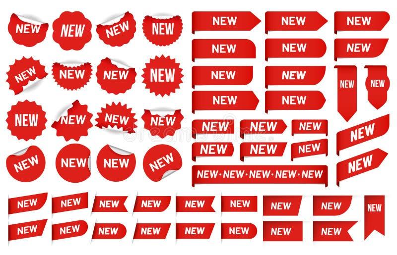 Νέα αυτοκόλλητη ετικέττα ετικετών Νεώτερη ετικέττα γωνίας, αυτοκόλλητες ετικέττες διακριτικών εμβλημάτων πωλήσεων και νέο διανυσμ διανυσματική απεικόνιση