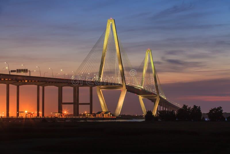 Νέα γέφυρα ποταμών του Cooper, Τσάρλεστον, νότια Καρολίνα στοκ εικόνα με δικαίωμα ελεύθερης χρήσης