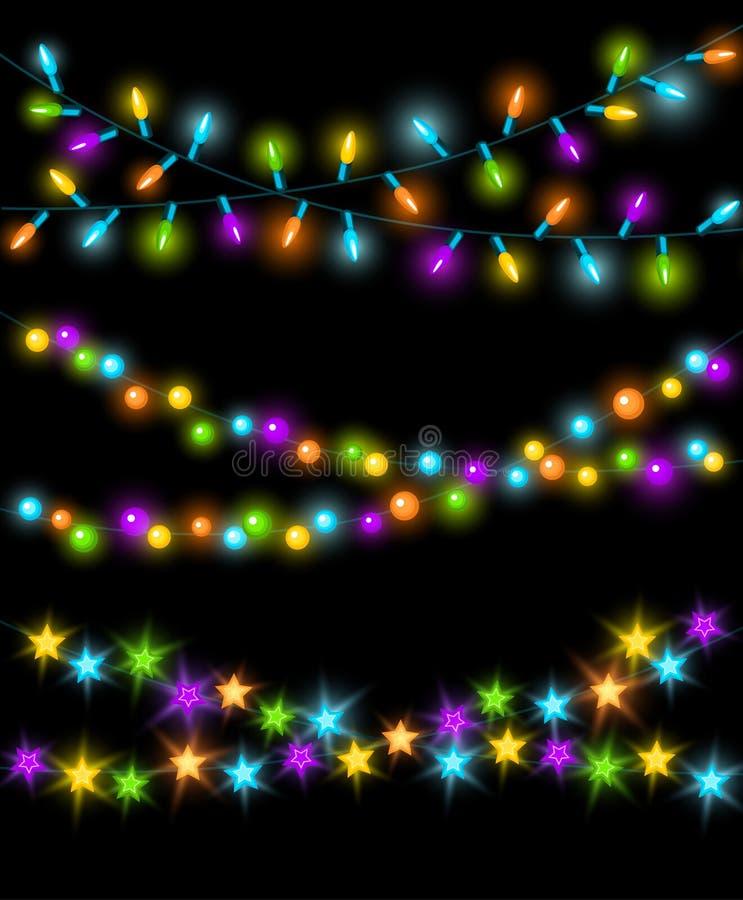 Νέα γενέθλια ετών Χριστουγέννων εορτασμού και άλλοι καμμένος ζωηρόχρωμοι οδηγημένοι λαμπτήρες, κύκλοι και αστέρια βολβών φω'των γ ελεύθερη απεικόνιση δικαιώματος